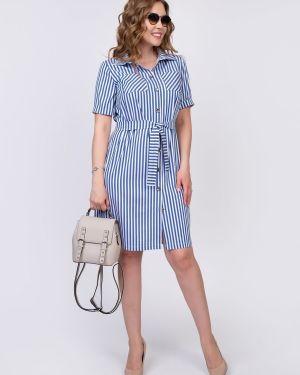 Джинсовое платье на пуговицах с поясом Diolche