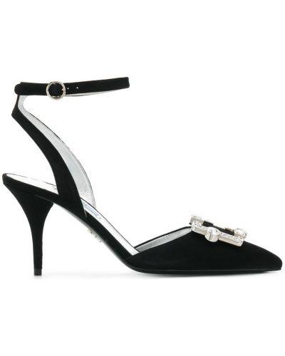Туфли-лодочки на каблуке кожаные Prada