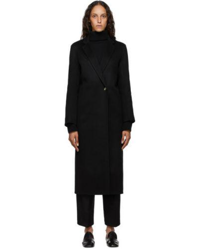 Шерстяное черное длинное пальто с воротником Arch The