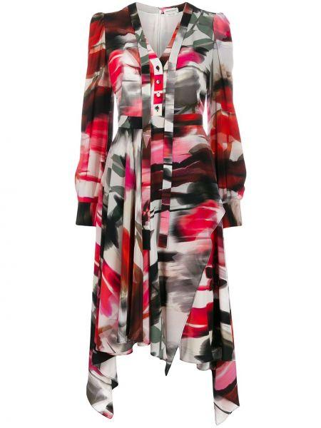 Платье на пуговицах с V-образным вырезом Alexander Mcqueen