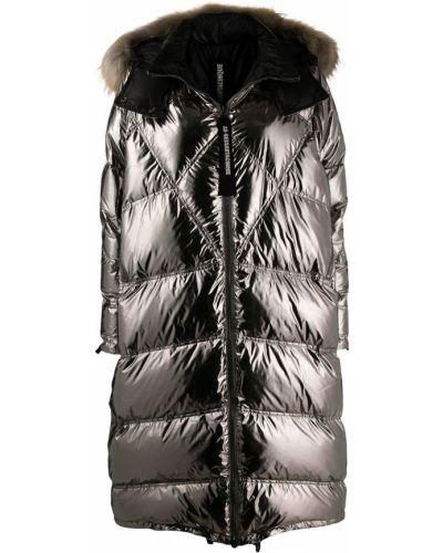 Коралловое пуховое длинное пальто с капюшоном As65