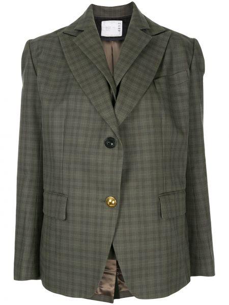 Хлопковый зеленый удлиненный пиджак с карманами Sacai
