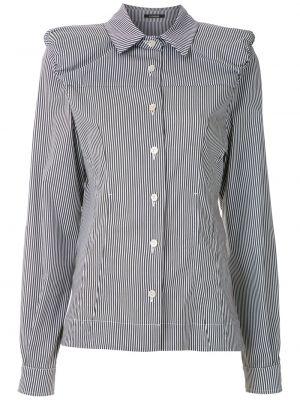 Хлопковая серая с рукавами классическая рубашка À La Garçonne