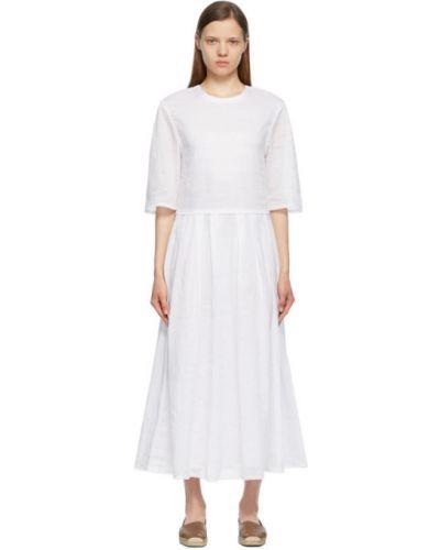 Белое платье макси с короткими рукавами с воротником 's Max Mara