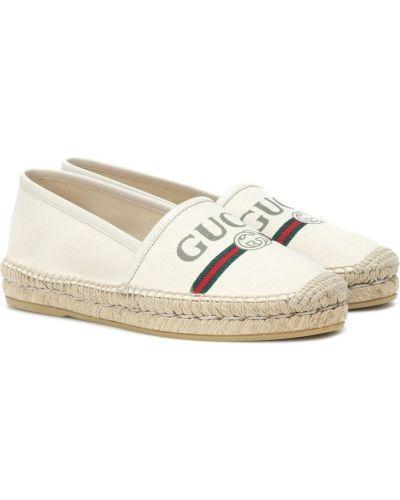 Białe espadryle bawełniane Gucci