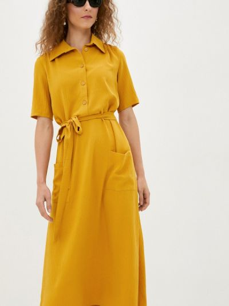 Желтое прямое платье Remix