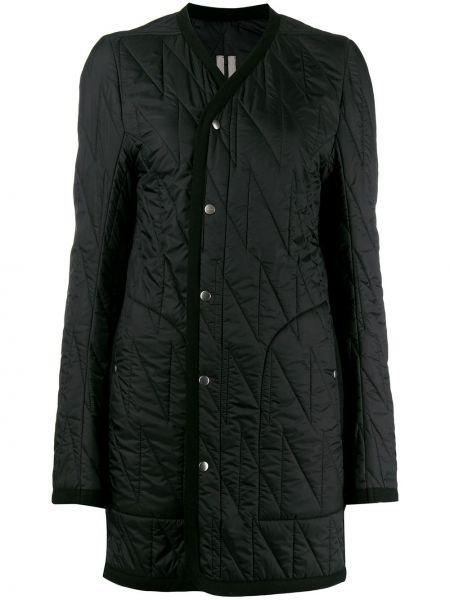 Черное длинное пальто с капюшоном с вырезом Rick Owens