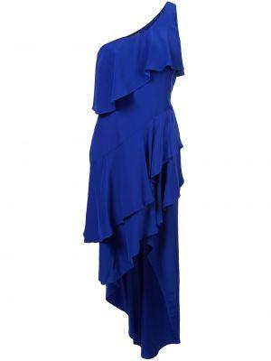 Niebieska sukienka asymetryczna z jedwabiu Haney