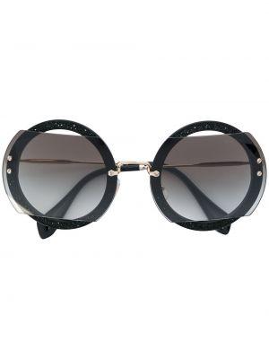 Черные солнцезащитные очки круглые металлические Miu Miu Eyewear