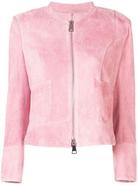 С рукавами розовая куртка на молнии с карманами Sylvie Schimmel