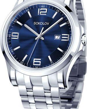 Часы синий серебряный Sokolov