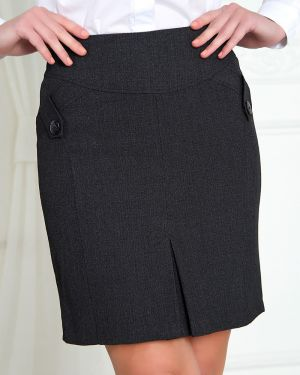 Серая костюмная юбка карандаш с кокеткой со складками Valentina