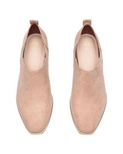 Замшевые бежевые туфли с подкладкой H&m