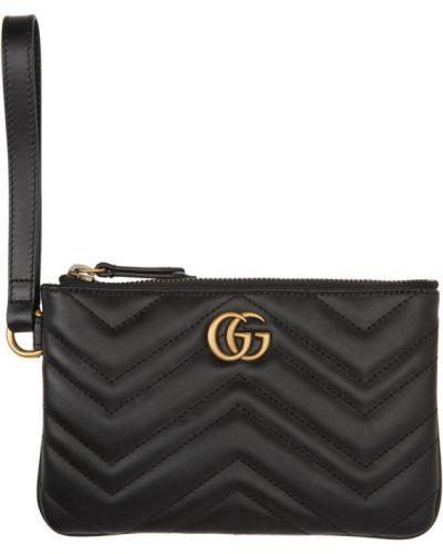 Skórzany pikowana różowy portfel z gniazdem Gucci