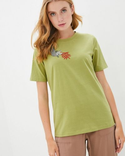 Зеленая футболка с короткими рукавами Akhmadullina Dreams