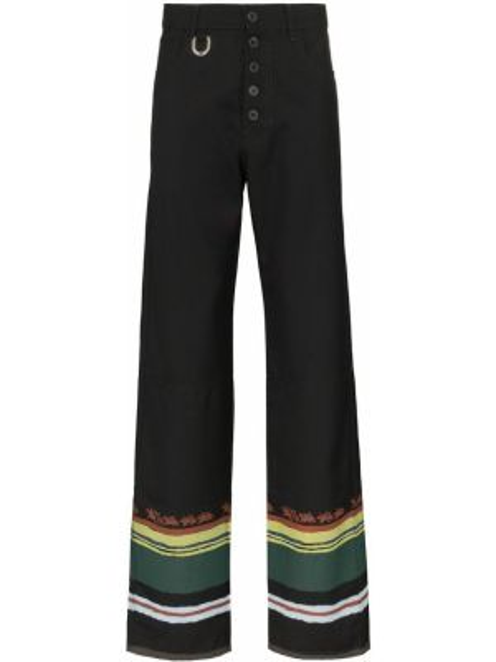 Czarne spodnie z wysokim stanem w paski Linder