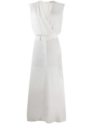 Шелковое белое платье макси с вырезом Brunello Cucinelli