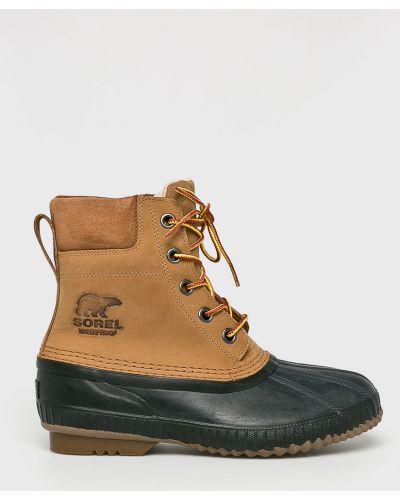 Кожаные ботинки текстильные на шнуровке Sorel