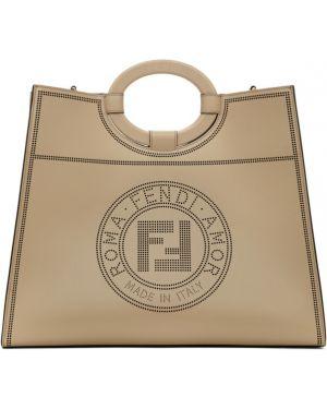 Кожаная сумка шоппер с перфорацией Fendi