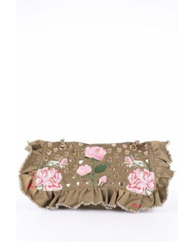 Złota zielona torebka na łańcuszku z haftem Mia Bag