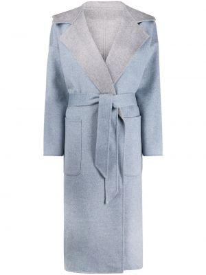 Синее кашемировое длинное пальто с капюшоном Liska