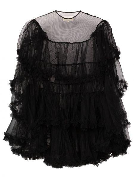 Czarna sukienka mini z falbanami tiulowa Shushu/tong