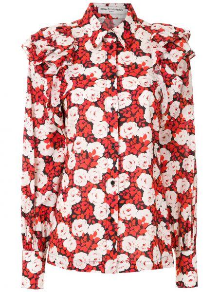 Красная классическая рубашка с воротником на пуговицах с длинными рукавами Reinaldo Lourenço