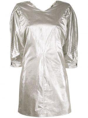 Серебряное прямое платье мини с вырезом Isabel Marant
