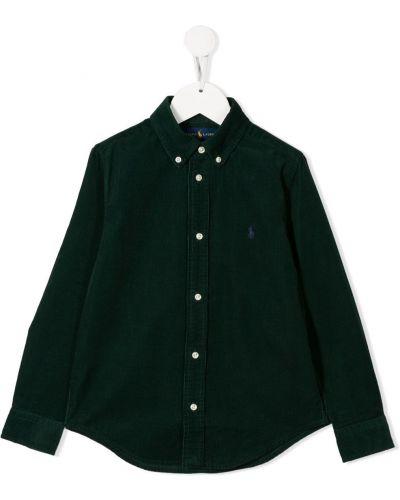 Koszula bawełniana z haftem z długimi rękawami Ralph Lauren Kids