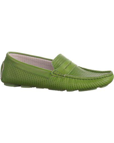 Мокасины кожаные зеленый Baldinini