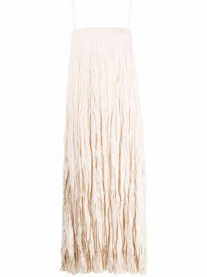 Beżowa sukienka midi z jedwabiu bez rękawów Toteme