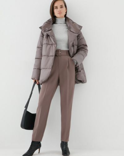 Бежевая теплая утепленная куртка Zarina