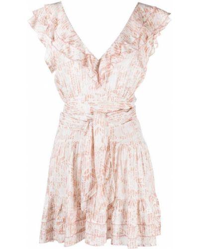 Платье мини с V-образным вырезом - белое Poupette St Barth