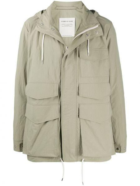 Зеленое длинное пальто с воротником на молнии с карманами A Kind Of Guise