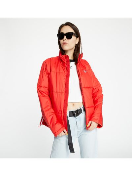 Брендовая красная дутая куртка Adidas Originals