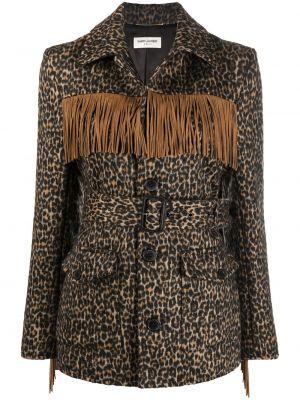 С рукавами коричневая кожаная куртка Saint Laurent