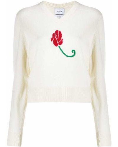 Белый кашемировый джемпер с вышивкой с V-образным вырезом Barrie
