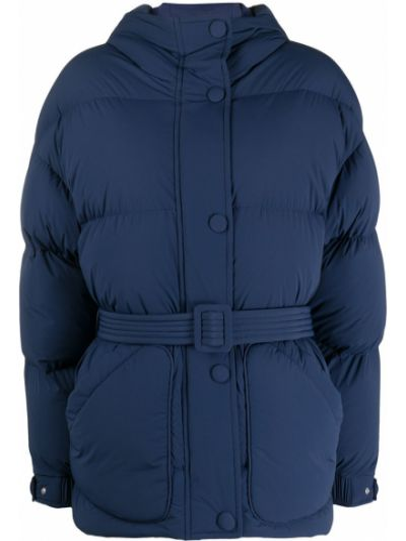 Классическая синяя нейлоновая стеганая куртка на кнопках Ienki Ienki