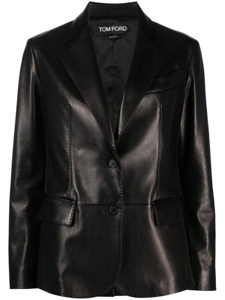 Однобортный черный кожаный пиджак Tom Ford