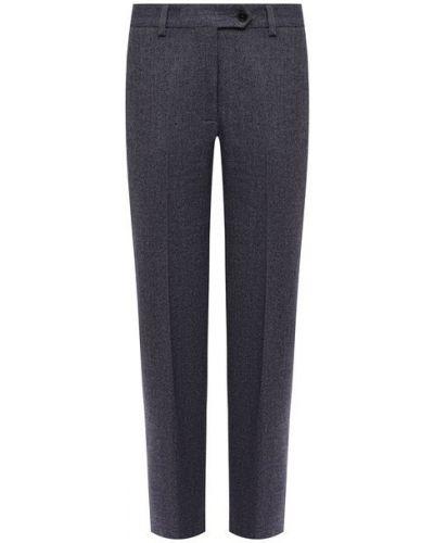 Прямые синие кашемировые брюки Kiton