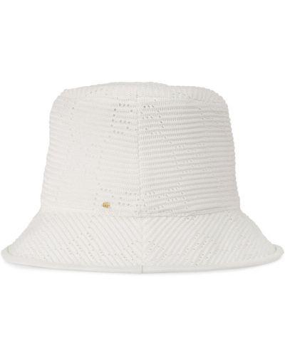 Biała kapelusz skórzana Gucci