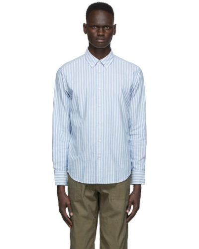 Niebieski bawełna koszula oxford z mankietami z paskami Rag & Bone