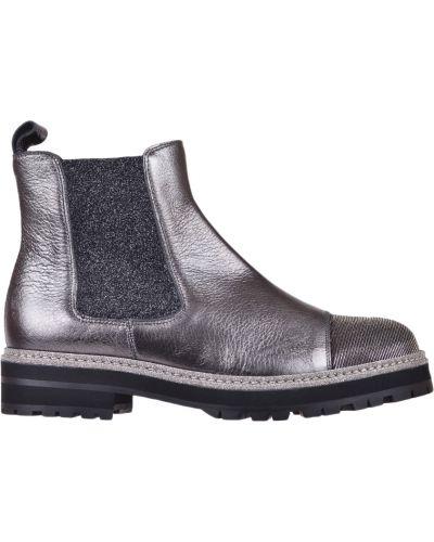 Кожаные ботинки - серебряные Pertini
