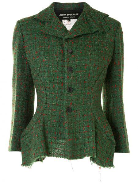 Зеленый классический пиджак твидовый в клетку Junya Watanabe Comme Des Garçons Pre-owned