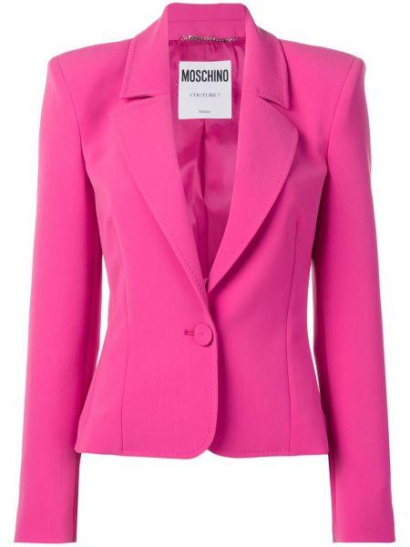 Розовый удлиненный пиджак на пуговицах с лацканами Moschino