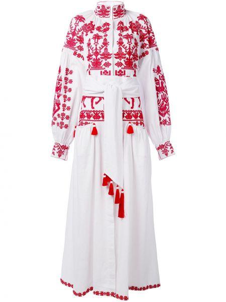 Платье с поясом с вышивкой с V-образным вырезом Yuliya Magdych