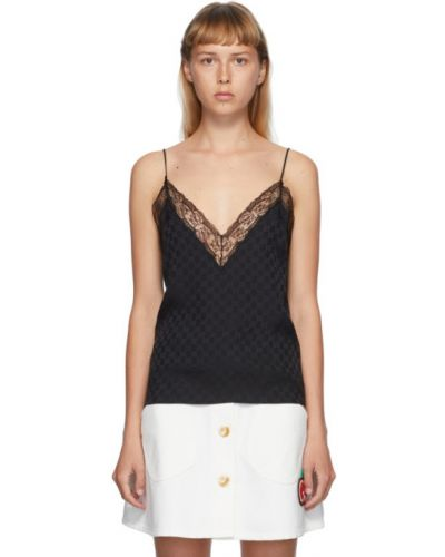 Ażurowy czarny top na sznurowadłach na paskach Gucci