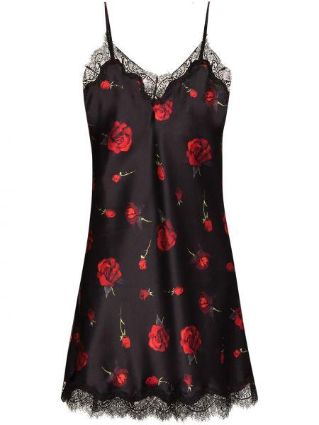 Satynowa koszula nocna - czarna Sainted Sisters