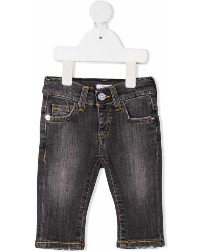 Prosto czarny bawełna jeansy o prostym kroju z kieszeniami Le Bebé Enfant