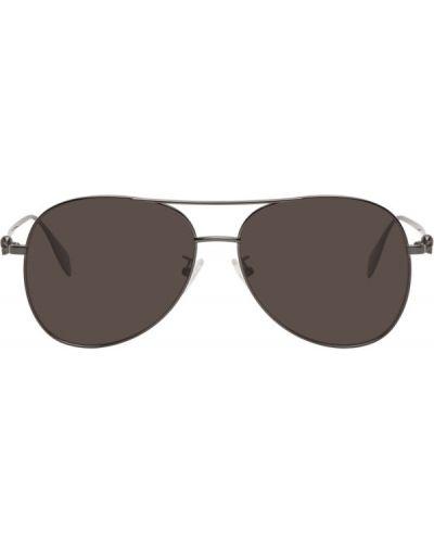 Кожаные солнцезащитные очки с черепами прозрачные Alexander Mcqueen